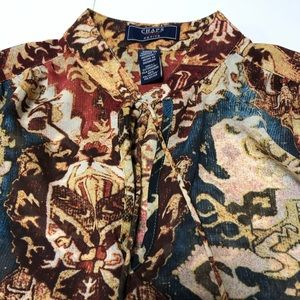 Chaps Paisley Petite Small Long Sleeve Blouse
